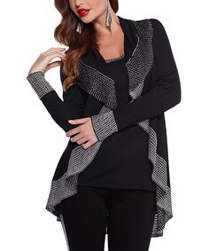 This Belldini Black & Silver Waterfall Open Cardigan by Belldini is perfect! #zulilyfinds