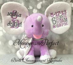 NEW Exclusive Purple Birth Announcement Stuffed Elephant