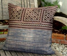 """Brown Ethnic Hmong Embroidery and Batik 16 """"  Decorative Throw Pillow Cushion Cover"""