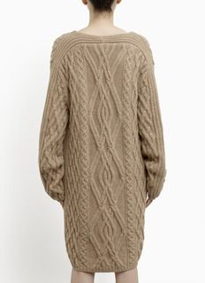 the row cable knit sweater | - Oversized V-neck cable knit cardigan | Neutral and Brown Cardigan ...