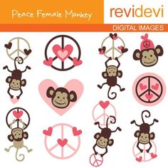 Clip art Peace Female Monkeys (hanging monkey, peace sign, pink) 07114.Clipart set for teachers and educators. Great resource for any school and classroom projects such as for creating bulletin board, printable, worksheet, classroom decor, craft materials, activities and games, and for more educational and fun projects.You will receive:- Each clipart saved separately in PNG format, 300 dpi with transparent background.- Each clipart saved separately in JPG format, 300 dpi with white ...
