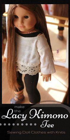 Free Sewing Pattern for American Girl Doll Lacy Kimono Tee