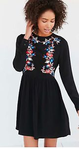 Urban Outfitters little white lies precious embroidered dress black large  | eBay