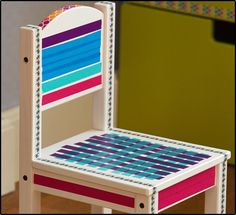 Give a plain chair a vibrant makeover with Expressions Magic Tape and Washi Tape.