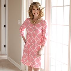 Ladies Pink Lattice Knit Olivia Dress