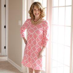 Ladies Pink Lattice Knit Olivia Dress