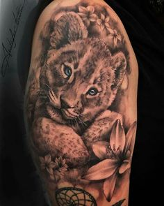 Half Sleeve Tattoos Color, Tattoos For Women Half Sleeve, Shoulder Tattoos For Women, Lioness And Cub Tattoo, Lion Cub Tattoo, Feminine Tattoo Sleeves, Lion Tattoo Sleeves, Leopard Tattoos, Animal Tattoos