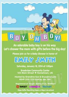 Personalized Baby Mickey & Pluto Shower Invitations