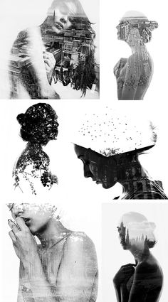 Double Exposure Portraits #photography #art #portraits #b&w #exposure #love #loneliness #broken