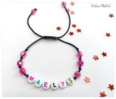 """Bracelet """"Maelys"""" . Bracelet avec message ou prenom personnalisable perles acryliques multicolores : Bijoux enfants par perles-et-couronnes"""