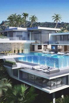 This is top end scale in dream-home land <3 A swimming pool outside of your mansion that is above your private indoor carpark <3 One can only dream.