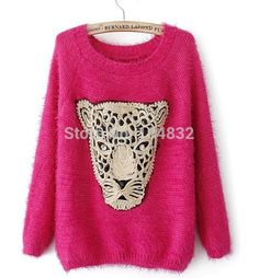 Дешевое Одежда новых женщин свитер мода леопард печатающая головка пуловер  свободного покроя красный цвет трикотажные мохер a06c1a4ee34