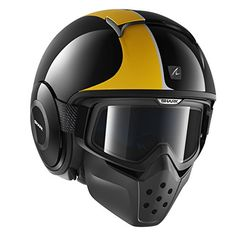 Shark RAW Stripe Black/Orange/Silver Motorcycle Helmet.