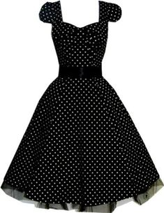 Pretty Kitty Fashion Polka Dot Black Vintage Swing Prom Pin-Up Tea Dress [ UK & Ireland - Buy Now: - ] - Polka Dot Black Rockabilly Swing Prom Pin-Up Tea Dress I am in love with these kinds of dresses Dot Dress, Dress Skirt, Dress Up, Swing Dress, Dress Prom, Dress Wedding, Prom Dresses, Jumper Dress, Long Dresses