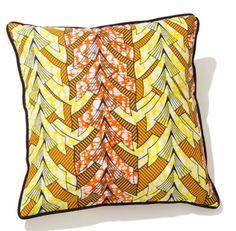 Jamestown orange cushion.  Handmade by Arhinarmah London. African cushion. Print. Lux home decor. Interiors.