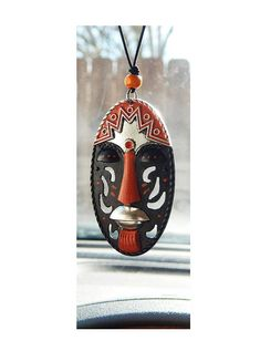 African Mask Car Charm Orange Antique Silver Black Accessories Rear View Mirror Afrocentric Hand Painted Black History Month Ethnic Tribal by TheBlackerTheBerry