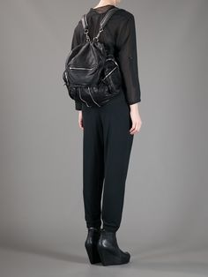 Alexander Wang Marti backpack, feelin the leather! 2017 Inspiration, Black Backpack, Fashion Lookbook, Capsule Wardrobe, Alexander Wang, Fashion Bags, Leather Pants, My Style, Purse