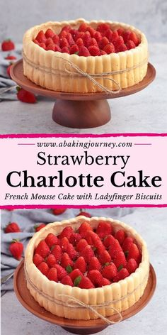 This Strawberry Charlotte Cake recipe is a classic French Dessert made with fresh strawberries, homemade ladyfinger cookies and a Strawberry Bavarian Cream filling. The Strawberry Bavarian Cream Cake is packed with fresh strawberries and deliciously light ladyfinger biscuits, making it a great summer cake to serve at a birthday party, dinner party, afternoon tea or garden party!