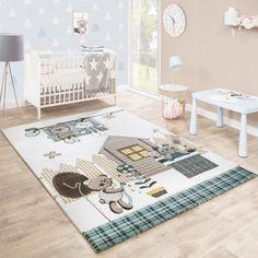 Gr/össe:80x150 cm Paco Home Moderner Kurzflor Kinderteppich Sternendesign Kinderzimmer Pastell T/ürkis Wei/ß