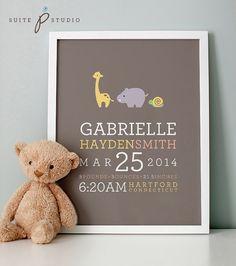 Animal Parade Personalized 8x10 Birth Art Print