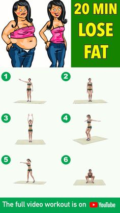 Here is a perfect workout for you to burn fat the healthy way! Exercise 20 mins everyday for the best results. These exercises contain easy to do cardio routines that you can do at home to burn as much fat as you can by speeding up your metabolism and i Full Body Gym Workout, Lose Fat Workout, Slim Waist Workout, Gym Workout Videos, Flat Belly Workout, Gym Workout For Beginners, Fitness Workout For Women, Weight Loss Workout Plan, Fitness Workouts