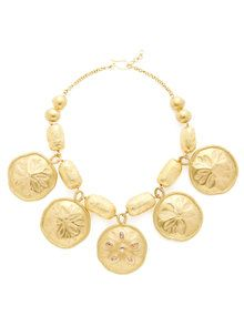 Gold & Diamond Sand Dollar Bib Necklace