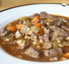 """Heartwarming Beef-Barley Soup: """"This is a perfectly named soup! On a cold, damp day, the hearty flavors and textures really hit the spot, without doing any damage to my waistline."""" -IngridH"""