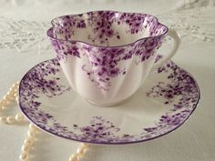 Shelley Dainty Purple Tea Cup & Saucer by TheEclecticAvenue