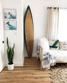 🌊 On the agenda today is church, surf (hubby), work on some home projects, enjoy time in the sun and visit the… Surfer Room, Surf Bedroom, Surf House, Surf Decor, Tropical Home Decor, Beach Room, Beach Cottage Decor, New Room, Home Interior Design