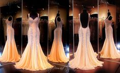 Peach Formfitting Beaded Mermaid Evening Gown-Sweetheart Neckline-Low Open Back-115BP00991300529 at Rsvp Prom and Pageant, Atlanta, GA