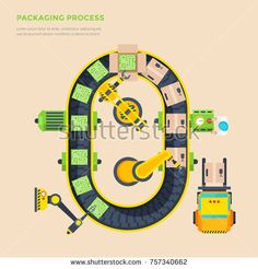 Stock Photo: Packaging line top view poster with automatic conveyor and micro scheme boxing process flat illustration