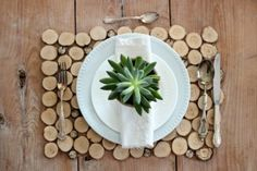 DIY sliced birch branch placemat tutorial -- burlap on the bottom to protect surfaces. Could use colorful, black, white, or clear (acrylic) backing as an alternative.