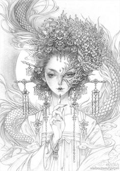 Greek Goddess Art, Japan Tattoo Design, Japanese Drawings, Japanese Geisha Tattoo, Mermaid Coloring Pages, Character Sketches, Art Drawings Sketches, Art Sketchbook, Ancient Art