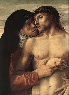BELLINI, Giovanni (b. ca. 1426, Venezia, d. 1516, Venezia). Dead Christ Supported by the Madonna and St John (Pietà) 1460 (detail) Tempera on panel, 86 x 107 cm Pinacoteca di Brera, Milan