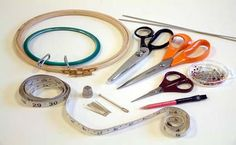 Tools & Equipment for Embroidery Embroidery Tools, Types Of Embroidery, Tools And Equipment, Scissors, Textiles, Crochet, Character, Ganchillo, Bicycle Kick