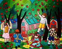 AT THE ORCHARD 16x20 in., acrylic on canvas, by Terry Ananny