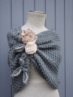 A personal favorite from my Etsy shop https://www.etsy.com/listing/219210708/shawl-bridal-shawl-grey-shawl-wedding