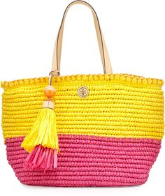 Tory Burch Small Straw Tote Bag, Sunbeam/Orange Crush/Fiesta - $250.00