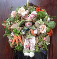 Cute Easter Bunny Burlap and Mesh Wreath on Etsy, $155.00