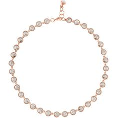 Ted Baker Rosele Rivoli Crystal Single Row Necklace (190 NZD) ❤ liked on Polyvore featuring jewelry, necklaces, rose gold, lobster clasp necklace, ted baker necklace, crystal bead necklace, adjustable chain necklace and chain necklaces
