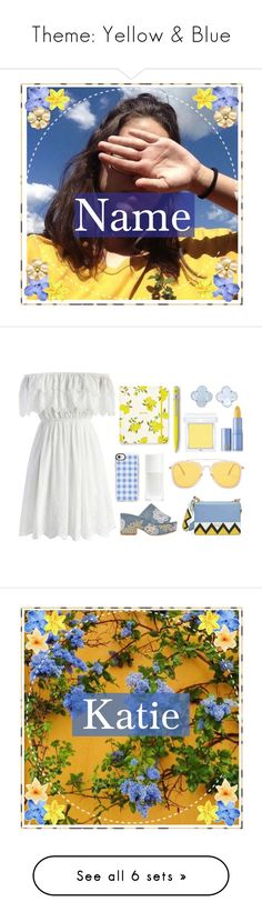 """""""Theme: Yellow & Blue"""" by otterspace ❤ liked on Polyvore featuring art, icon, Chicwish, Laurence Dacade, Prada, Casetify, Kate Spade, Caran d'Ache, RMK and Lipstick Queen"""