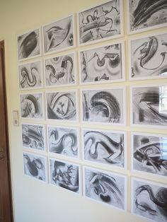 """"""" Abrakadabra""""  Feld mit 20 Zeichnungen, Pittkreide"""