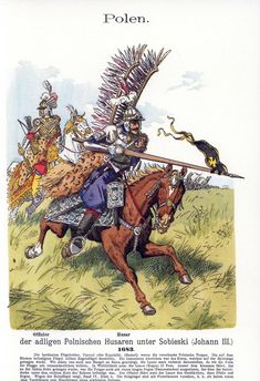 """cuirassier: """"Polish winged hussars at the siege of Vienna, officer and trooper The lance looks short even from that perspective, the lance should be about 5 meters long. Military Art, Military History, Military Uniforms, Battle Of Vienna, Litany Of The Saints, Best Army, Renaissance Era, Medieval Armor, Napoleonic Wars"""