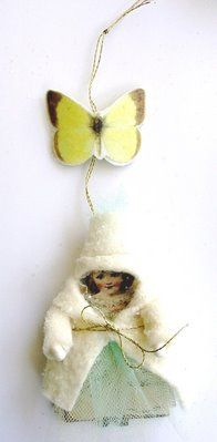 Got this sweet cotton batting winter butterfly girl in a swap from Sandy in 2006 and still adore it!