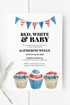 Red, White & Baby Shower Invitation Template   Baby Shower or Gender Reveal   Patriotic Theme   Red, White and Blue   Instant Download   5x7 Invitation Card Printing, Baby Shower Invitation Templates, Red White And Boom, Note Fonts, Hot Dog Bar, White Baby Showers, Favor Tags, Mini Cupcakes, Birthday Invitations