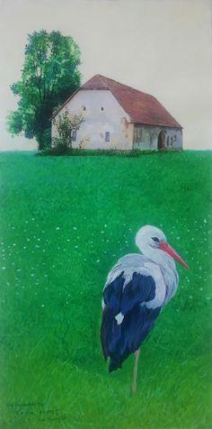 in the morning, stork, Austria Unterrabnitz, 2014 work