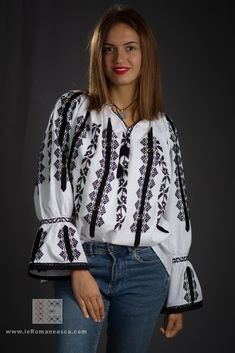 handmade embroidery - traditional Romanian blouse - ie romaneasca - worldwide shipping - bohemian fashion - boho chick style Peasant Blouse, Blouse Dress, Ethnic Fashion, Boho Fashion, Fashion Trends, Creative Hairstyles, Folk Costume, Blouse Online, International Fashion