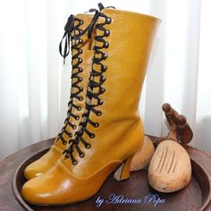 Victorian Boots Lace up High Heels Ankle boots in Ocker / Mustard Leather Order your customized size