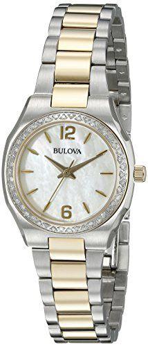 cc38f8e5f66b Bulova Womens 98R204 Diamond Gallery Analog Display Japanese Quartz TwoTone  Stainless Steel Watch -- Check
