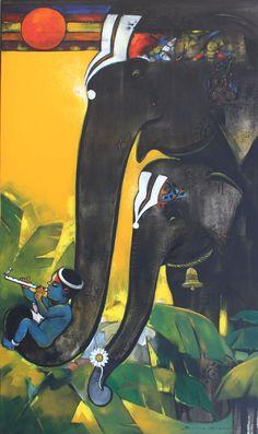 Suresh-Gosavi-Devotion-and-Strength-I-Acrylic-on-Canvas-Painting-EK-15-0009-AC-0005-60x36-120000 Love Painting, Artist Painting, Figure Painting, Watercolor Artists, Painting Tips, Watercolor Painting, Indian Folk Art, Indian Artist, Jazz Dance